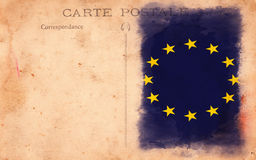 Old Vintage Grunge Postcard European Union Flag Stock Image
