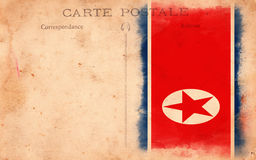 Old Vintage Grunge Postcard North Korea Flag Royalty Free Stock Images