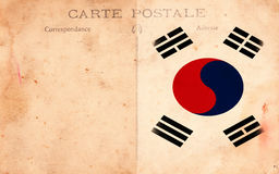 Old Vintage Grunge Postcard South Korea Flag Stock Photo