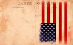 Old Vintage Grunge Postcard Usa Flag Stock Photography