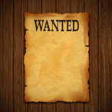 Old vintage grunge western poster with the inscription is wanted. On a wooden wall. Stock  illustration Royalty Free Stock Photo