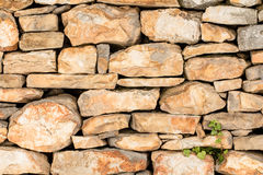 Old vintage hand made rock stone wall texture pattern background Royalty Free Stock Photo