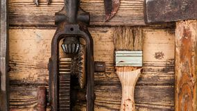 Old vintage hand tools on wooden background stock video footage