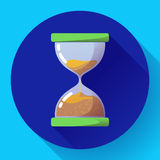 Old vintage hourglass icon flat vector - time symbol royalty free illustration