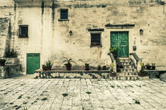 Old vintage house. External facade. Royalty Free Stock Image