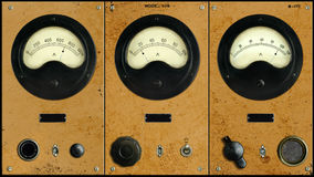 Vintage Instrumentation Control Panel with Meters Royalty Free Stock Image