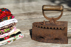 Old vintage iron on coals Royalty Free Stock Image