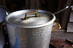 Old vintage iron metal cooking pot Royalty Free Stock Image