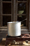 Old vintage iron metal cooking pot Royalty Free Stock Images