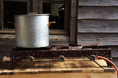 Old vintage iron metal cooking pot Stock Photo