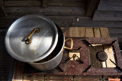 Old vintage iron metal cooking pot Stock Image