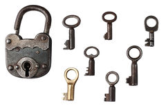 Old vintage key on white background Stock Photography