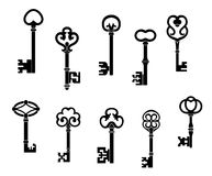 Old and vintage keys. Set with secret silhouettes Royalty Free Stock Photography