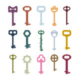 Old vintage keys set. Color clues from ancient castles. Door vin Royalty Free Stock Photos