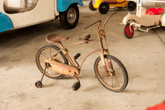 Old vintage kid bicycle. stock photography