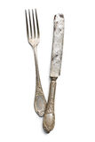 Old vintage knife and fork Stock Images