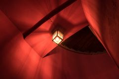 The old and vintage lantern in dark room.  Stock Images