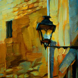 Old vintage lantern in gothic quarter barcelona,painting by oil Stock Photos