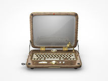 Old vintage laptop icon. Front view of an old vintage steampunk laptop icon Stock Photography