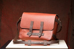 Old vintage leather bag with leather strap Royalty Free Stock Photography