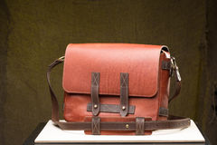 Old vintage leather bag with leather strap Stock Images