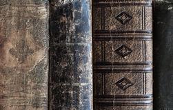 Old vintage leather books background Royalty Free Stock Photos