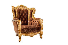 Old vintage leather classic armchair isolated on white backgroun Royalty Free Stock Photo