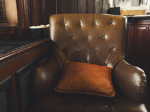 Old vintage leather sofa. stock photo