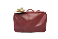 Old vintage leather suitcase ready for travelling Stock Photography