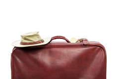 Old vintage leather suitcase ready for travelling Stock Photos