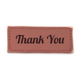 Old, vintage leather thank you label Stock Photos