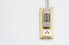 Old vintage light switch and electric plug socket. Royalty Free Stock Images