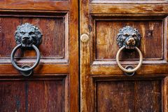 Old vintage lion head door knocker. Stock Photo