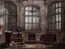 Old vintage living room. Old abandoned living room with vintage furniture stock illustration