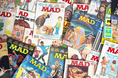 Old Vintage Mad Magazine Cartoon Comic Books stock photography
