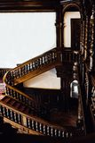 Old vintage mahogany staircase Royalty Free Stock Images