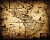 Old vintage map. Pirate and nautical theme grunge background. Old vintage geography map of America 1632. Pirate and nautical theme grunge background stock images