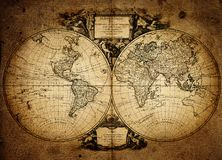 Old vintage map. Pirate and nautical theme grunge background. Old vintage geography map. Pirate and nautical theme grunge background stock photos