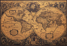 Old vintage map. Of world, the original map stock images