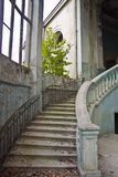 Old vintage marble spiral staircase at abandoned overgrown mansion Royalty Free Stock Photos