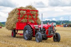 Old vintage Massey Ferguson and trailer in crop field Royalty Free Stock Photo