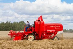 A old vintage Massey harris combine harvesters Stock Images