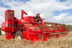 A old vintage Massey harris combine harvesters Royalty Free Stock Photography