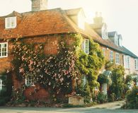 Old vintage medieval beautiful stone british house with tile roo. F and bright windows, a flowering rose garden near the asphalt road in warm evening sunset Royalty Free Stock Photography
