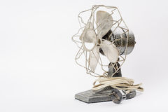 Old vintage metal fan  on white Royalty Free Stock Images