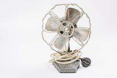 Old vintage metal fan  on white Royalty Free Stock Photos