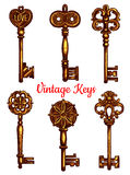 Old vintage metal keys vector isolated icons set Stock Images