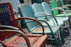 Old vintage metal lawn chairs Stock Photo