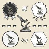 Old vintage microscope symbol emblem label Royalty Free Stock Photography