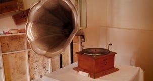 Old Vintage Musical Gramophone stock video footage